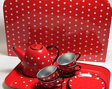 Toy – vintage style polka dot tea set
