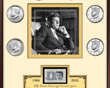 Framed print & coin collections – including President Kennedy