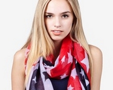 Red, white and blue scarves for her
