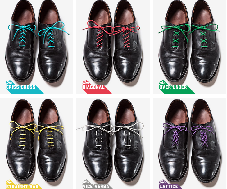 Tie coloured shoelaces