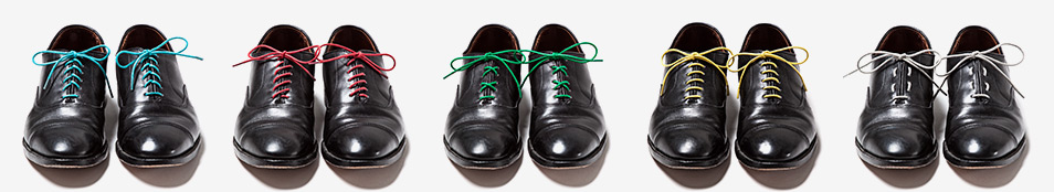 Tie shoelaces on dress shoes